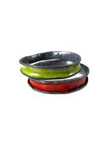 Anti-clastic enamel  bangles, red and green