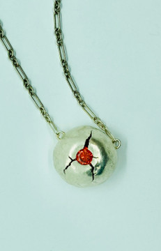 """Sterling silver necklace """"cracked"""""""