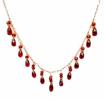 14k, 18k necklace with facets garnet drops