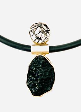 Meteorite & Tourmalinated quartz pendant
