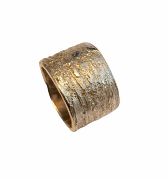 Wide  sterling silver textured band