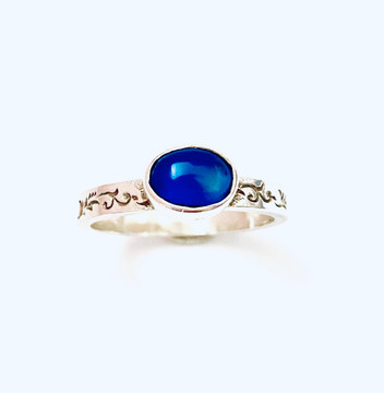 Sterling silver stackable ring with dark blue Chalcedony oval cabochon