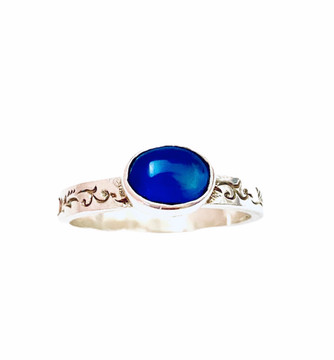 Sterling silver stackable ring with oval dark blue cabochon size 8 1/4