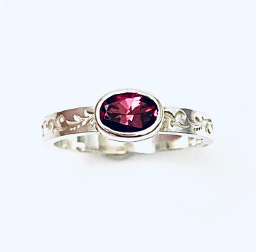 Sterling silver stackable ring with oval faceted Pink tourmaline