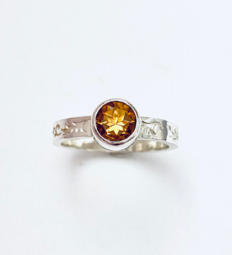 Sterling silver stackable ring with faceted round Citrine