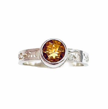 Sterling silver stackable ring with round faceted Citrine - size 6 1/4