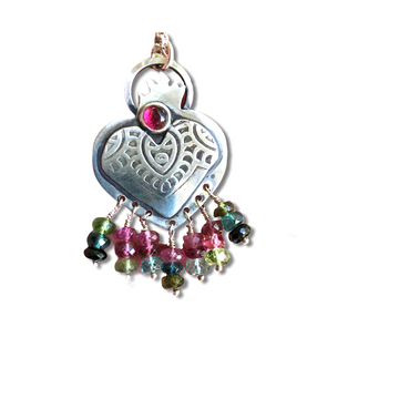 """Sterling silver etched and hand fabricated sacred heart with Pink Tourmaline bezel set stone and multicolored tourmaline bead fringe. 25mm x 45mm.  18"""" Sterling Silver Rolo chain with SS lobster clasp."""