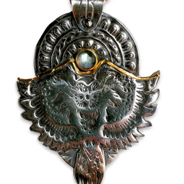 "Owl and Setting Sun pendant. Sterling with 14kt gold . 21/4"" h x 13/4 w with 6mm Rosecut blue Labradorite. Hand fabricated."
