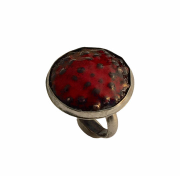 Sterling silver, black and red enamel ring