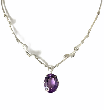 Sterling silver cast branches and faceted amethyst necklace