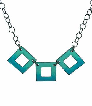 3 Squares Reversible Enamel Necklace