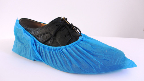 Plastic Shoe Covers Overshoes Waterproof CPE Shoe Cover Blue, pkt of 100pcs