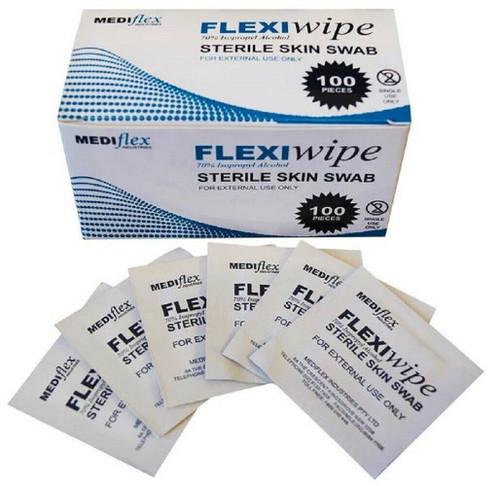 Medi-Flex Alcohol pads  70% Isopropyl Alcohol, 65 x 30mm, Skin Swab, pkt of 100pcs