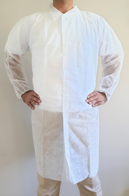Disposable Lab coat, Medical Dental Laboratory Veterinary Isolation Cover Gown, White  100 pc/pkt