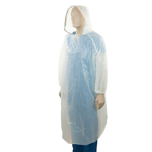 Apron, Disposable Waterproof Plastic Cover Poncho Type,Low Density Recyclable Polyethylene (LDPE), 80 x 125cm, 100 Pcs, Free Size