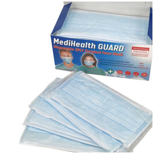 Sydney Stock, MediHealth Guard Disposable Surgical Face Mask Level 3 Individually Packed, 3ply Medical Dental Blue facemask Ear Loop TGA Registered, Pkt of 50pcs, ***FREE SHIPPING***