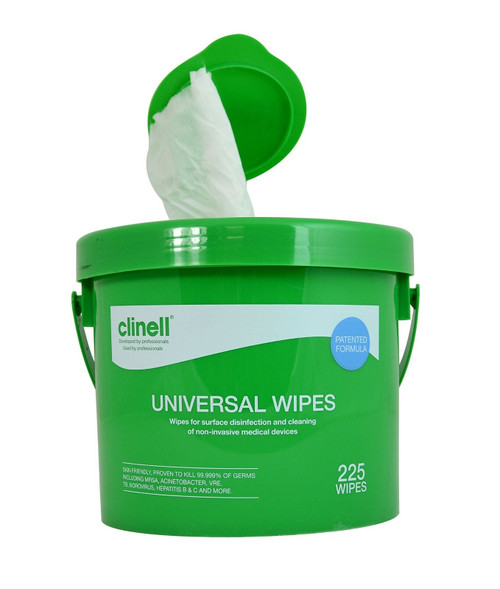 Clinell Universal Sanitising Wipes, All surfaces & Safe on Hands, 25cm x 25cmBucket of 225