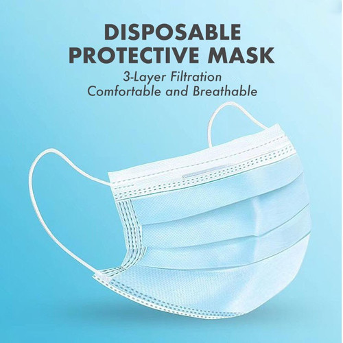 3Ply Blue Disposable Face Mask Ear Loop,  50 pcs/box, 40 Box/Carton (2000pcs)
