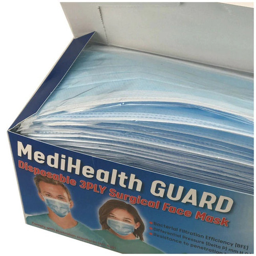 40 boxes (2000pcs) Sydney Stock, MediHealth Guard Level 3 Surgical Face Mask 3ply, Individually Packed, Medical Dental Blue facemask Ear Loop TGA Registered