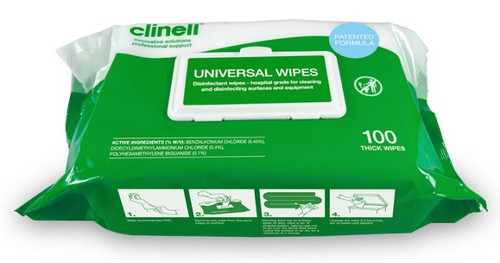 Clinell Universal Sanitising Wipes, 26 X18 Cm Green,  60gsm double thickness with hospital grade disinfectant (Pack of 100)
