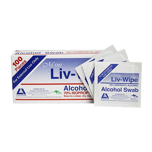 Liv-Wipe Mini Alcohol Swabs, Prep Pad, 70 Percent Isopropyl Alcohol Sanitiser, 65 x 30mm, 100 per Box