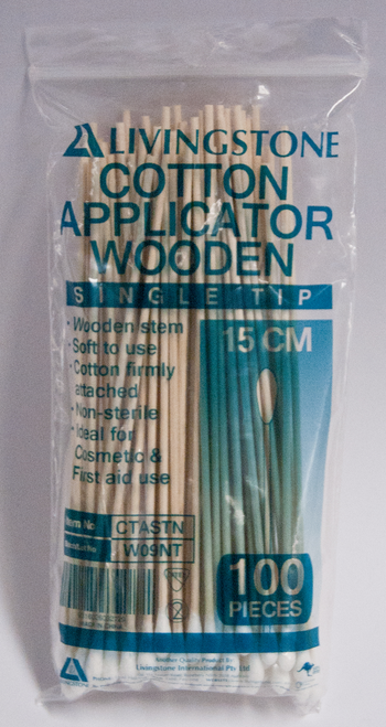 Cotton Tip Applicator, Single Tipped, Biodegradable Wooden Stem, 15cm, 100 per Pack