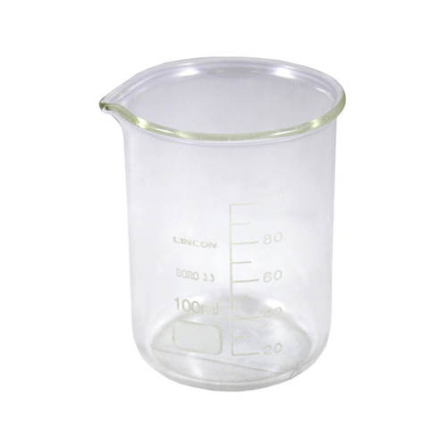 Lincon Beaker, 100ml, Low Form, Graduated with Spout, Borosilicate Glass, 1 per Box