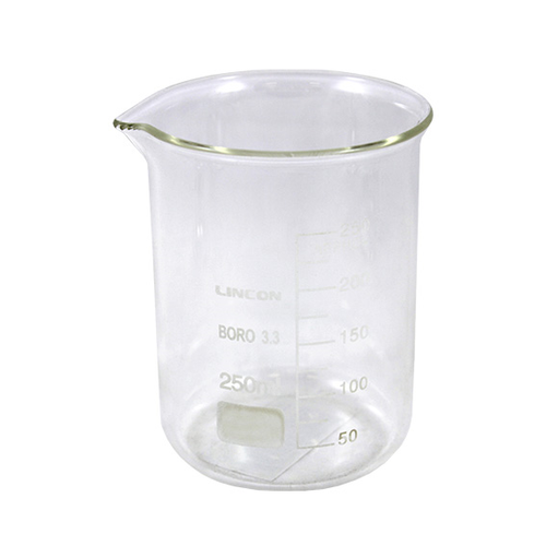Lincon Beaker, 250ml, Low Form, Graduated with Spout, Borosilicate Glass, 1 per Box