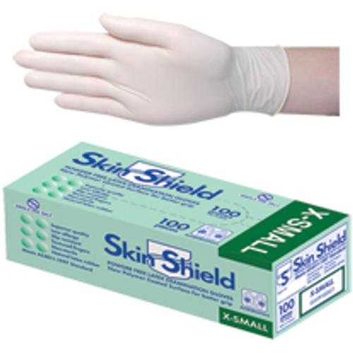 Skin Shield Latex Examination Gloves, Powder Free, Polymer Coated, Textured, Non-Sterile, Extra Small, 100 per Box, 1000 per Carton