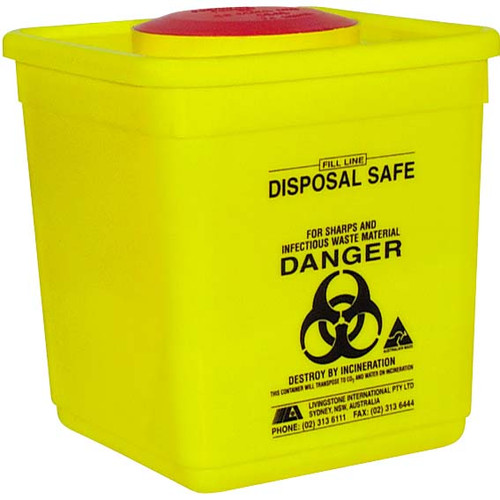Needles Sharps Waste Collector, 4.75 Litres, with Rotating Lid and Finger Guard, Square, Recyclable Plastic, Yellow, Each