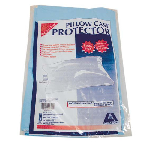 Pillow Slip Case with Dual Zipper, 69 x 46cm, 0.15mm, Polyvinyl Chloride (PVC), Washable, Blue, Single Packed