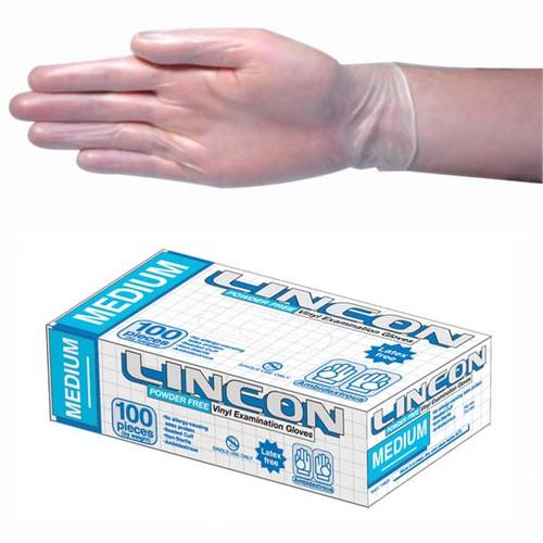 Lincon Vinyl Gloves, Recyclable, 5.0g, Powder Free, Medium, Clear, HACCP Grade, 100 per Box