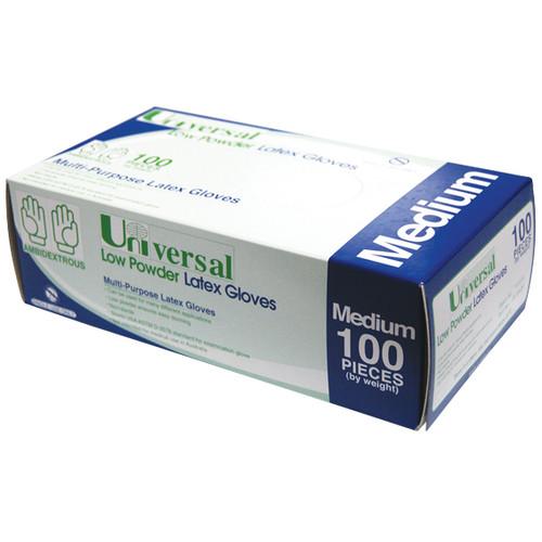 Universal Biodegradable Latex Gloves, ASTM, Low Powder, Medium, Cream Colour, 100 per Box