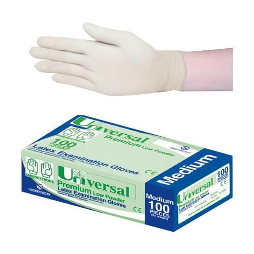 Universal Biodegradable Latex Examination Gloves, AS/NZ, Low Powder, Medium, Cream Colour, 100 per Box, 1,000 per Carton