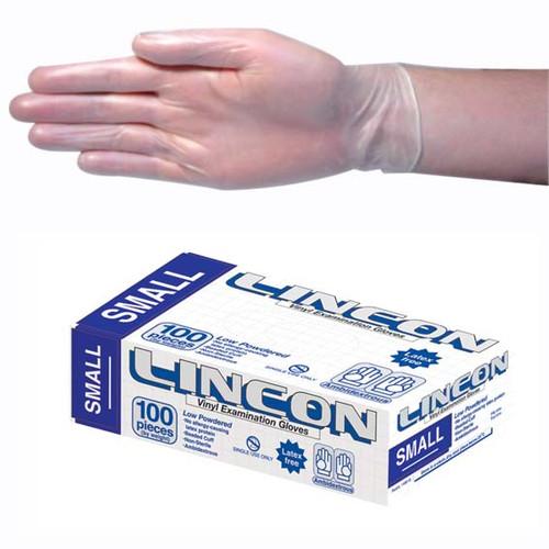 Lincon Vinyl Gloves, Recyclable, 4.5g, Low Powder, Small, Clear, HACCP Grade, 100 per Box