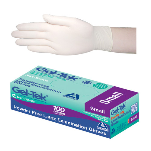 Gel-Tek Latex Examination Gloves, Powder Free, Polymer Coated, High-Tactility, Textured, Non-Sterile, Small, Cream, 100 per Box