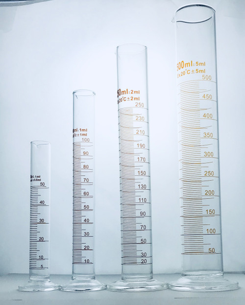 1000ml (±10.0), GLASS MEASURING CYLINDERS, ROUND BASE, GRADUATED Tall form with spout, Grad 10.0, 1000H (mm)