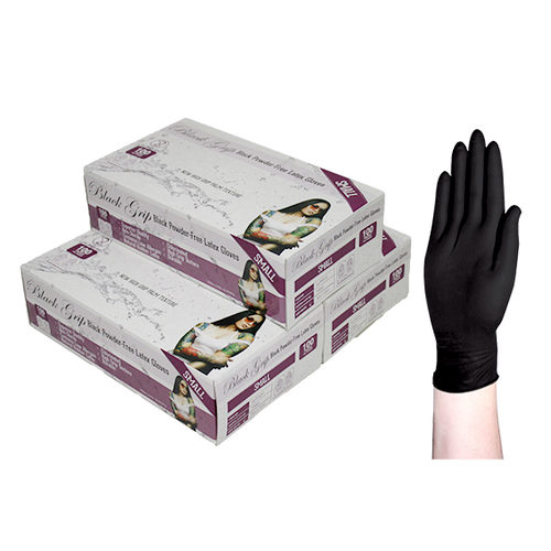 Black Grip Thick Heavy Duty Biodegradable Latex Gloves, Powder Free, Small, Black, 100 per Box, 10 Boxes per Carton