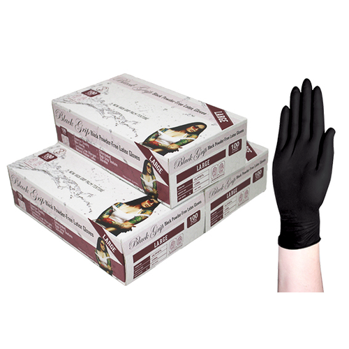 Black Grip Thick Heavy Duty Biodegradable Latex Gloves, Powder Free, Large, Black, 100 per Box, 10 Boxes per Carton