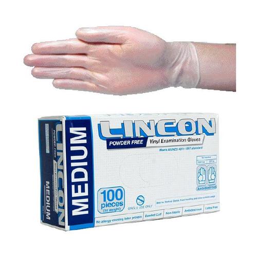 Lincon Vinyl Examination Gloves, Recyclable, 6.0g Powder Free, Medium, Clear, 100 per Box, 1,000 per Carton