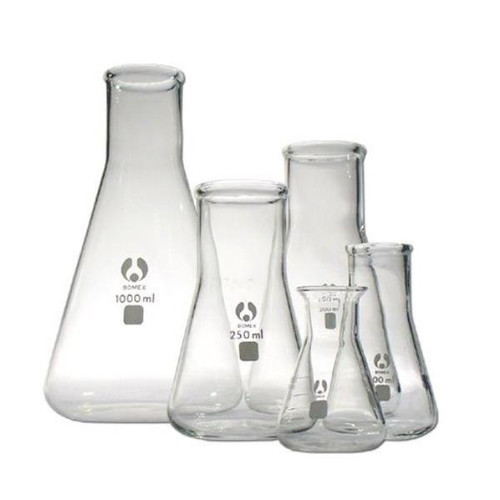 150ml,GLASS ERLENMEYER FLASKS, CONICAL MEASURING FLASK, White Graduation,  28T x 71B x 120H (mm)