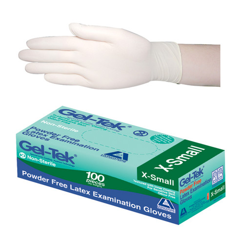 Gel-Tek Latex Examination Gloves, Powder Free, Polymer Coated, High-Tactility, Textured, Non-Sterile, Extra Small, Cream, 100 per Box