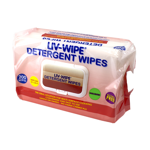Liv-Wipe Detergent Wipes, 22 x 28cm, Nonwoven, Alcohol Free, Neutral pH, 200 Wipes per Soft Packet