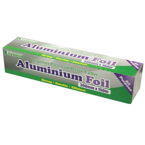 Universal Aluminium Foil, 30cm x 150m, 10 Microns, 6 Rolls per Carton