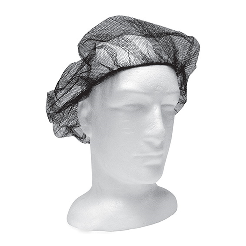 Disposable Hair Nets with Elastic Edge, Nylon/Cotton, One Size Fits All, Black, 100 per Bag