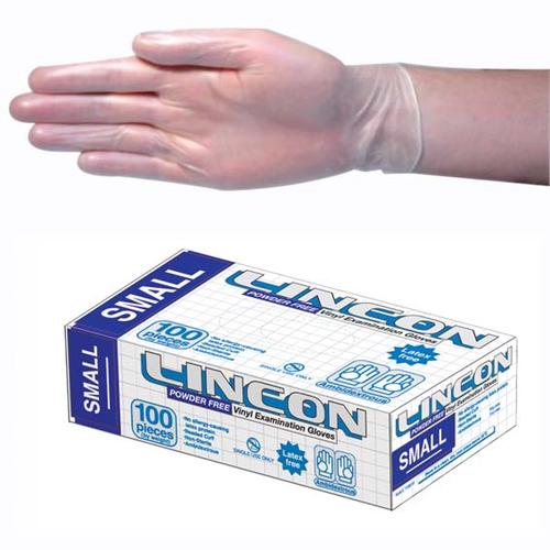 Lincon Vinyl Gloves, Recyclable, 4.5g, Powder Free, Small, Clear, HACCP Grade, 100 per Box, 1000 per Carton