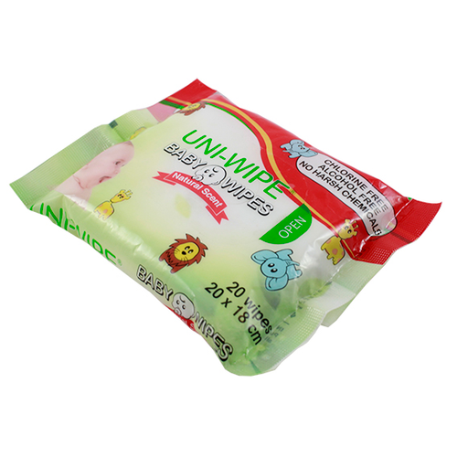 UNI-Wipe Baby Wipes, Unscented, Perfume-Free, 20 x 18cm, 20 Wipes in Resealable Soft Pack