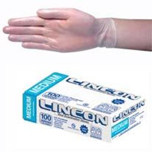 Lincon Vinyl Gloves, Recyclable, 5.0g, Low Powder, Medium, Clear, HACCP Grade, 100 per Box, 1000 per Carton
