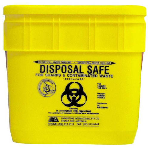 Needles Sharps Waste Collector, 12.5 Litres, with Sliding Lid and Finger Guard, Square, Recyclable Plastic, Yellow, Each