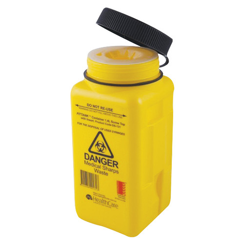 Fittank Needles Sharps Waste Collector, 1.4L Capacity, with Screw Lid and Insert, Yellow, Each